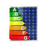 Energy Efficiency Rating and Solar Panel Stock Photo