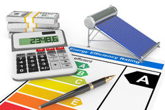 Energy Efficiency Rating with Solar water heater panel Stock Photo