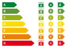 Energy Efficiency rating. Vector illustration set isolated on background Royalty Free Stock Photos