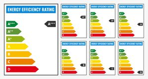 Energy Efficiency rating. Vector illustration set isolated on background Stock Images