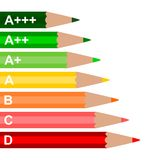 Energy Efficiency Rating Wooden Pencil - illustration Stock Photos