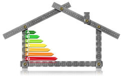 Energy Efficiency - Ruler in the Shape of House. Energy Efficiency - Grey metal ruler in the shape of house with energy efficiency rating.  on white background Royalty Free Stock Photos