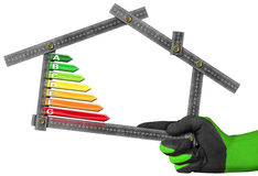 Energy Efficiency - Ruler in the Shape of House. Energy Efficiency - Hand with work glove holding a metal ruler in the shape of house with energy efficiency Royalty Free Stock Photography