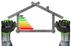 Energy Efficiency - Ruler in the Shape of House Stock Image