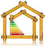 Energy Efficiency - Ruler in the Shape of House. Energy Efficiency - Yellow wooden folding ruler in the shape of house with energy efficiency rating. Isolated on stock images