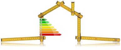 Energy Efficiency - Ruler in the Shape of House Stock Photos