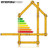 Energy Efficiency - Ruler in the Shape of House. Energy Efficiency - Yellow wooden folding ruler in the shape of house with energy efficiency rating. Isolated on Stock Photos