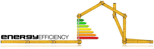 Energy Efficiency - Ruler in the Shape of House. Energy Efficiency - Yellow wooden folding ruler in the shape of house with energy efficiency rating.  on white Stock Photography
