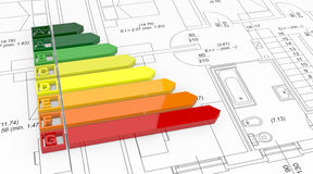 Energy efficiency scale. Energy performance scale with a house project (3d render Stock Photo