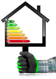 Energy Efficiency - Sign in the Shape of House. Hand with work glove photo holding a black sign in the shape of a house 3d illustration with energy efficiency Royalty Free Stock Photography