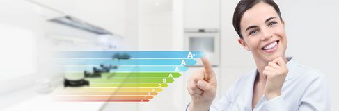 Energy efficiency smiling woman hand touch screen with colored s. Ymbols on interior kitchen room background web banner and copy space template stock photos