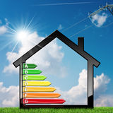 Energy Efficiency - Symbol in the Shape of House. Energy Efficiency - 3D illustration of a symbol in the shape of house with energy efficiency rating. On a blue Royalty Free Stock Photography