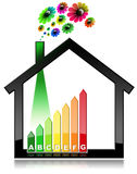 Energy Efficiency - Symbol in the Shape of House. Energy Efficiency - 3D illustration of a symbol in the shape of house with energy efficiency rating and flowers Stock Photo