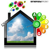 Energy Efficiency A - Symbol in the Shape of House. Energy Efficiency A - 3D illustration of a symbol in the shape of house with energy efficiency rating and Stock Images