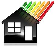 Energy Efficiency - Symbol in the Shape of House. Energy Efficiency - 3D illustration of a symbol in the shape of house with energy efficiency rating. Isolated Royalty Free Stock Photography