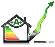 Energy Efficiency A - Symbol in the Shape of House. Energy Efficiency A - 3D illustration of a symbol in the shape of house with energy efficiency rating Royalty Free Stock Images