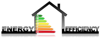 Energy Efficiency - Symbol in the Shape of House. Energy Efficiency - 3D illustration of a symbol in the shape of house with energy efficiency rating.  on white Stock Photos