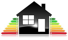 Energy Efficiency - Symbol in the Shape of House. Energy Efficiency - 3D illustration of a symbol in the shape of house with energy efficiency rating. Isolated Stock Photos