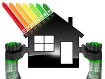 Energy Efficiency - Symbol in the Shape of House. Hands with work gloves photo holding a black symbol in the shape of a house 3d illustration with energy Royalty Free Stock Photography