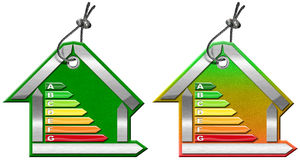 Energy Efficiency - Symbols in the Shape of House. Energy Efficiency - 3D illustration of two symbols in the shape of house with energy efficiency rating Royalty Free Stock Photos