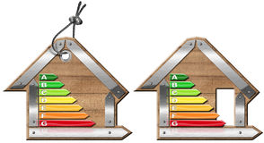 Energy Efficiency - Symbols in the Shape of House. Energy Efficiency - 3D illustration of two symbols in the shape of house with energy efficiency rating Royalty Free Stock Images