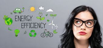 Energy Efficiency with young businesswoman royalty free stock photography