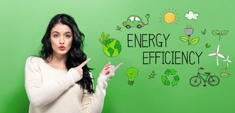 Energy Efficiency with young woman stock image
