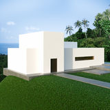 Energy efficient concrete modern house on the hill. Above the ocean in the jungle. 3D render royalty free stock images