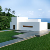 Energy efficient concrete modern house on the hill. Above the ocean in the jungle. 3D render stock photography