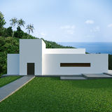 Energy efficient concrete modern house on the hill Royalty Free Stock Photo
