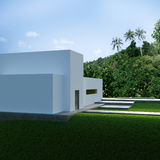 Energy efficient concrete modern house on the hill Royalty Free Stock Images