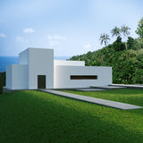 Energy efficient concrete modern house on the hill Royalty Free Stock Image