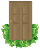Energy Efficient Door. Door with leaves to indicate energy efficiency. Door and leaves are on a separate layer. Each leaf is grouped to make it easier to add or stock illustration