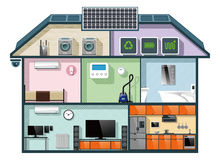 Energy efficient house cutaway image for smart home automation concept. Vector illustration Royalty Free Stock Photos