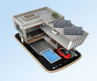 Energy-Efficient house on a smart phone. Stock Photography