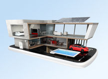 Energy-Efficient house on a smart phone. Stock Image