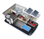 Energy-Efficient house on a smart phone. Royalty Free Stock Images