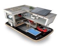 Energy-Efficient huis op een slimme telefoon Stock Fotografie