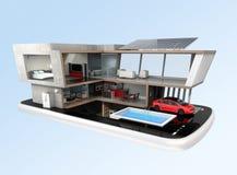 Energy-Efficient huis op een slimme telefoon Stock Afbeelding