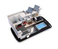 Energy-Efficient huis op een slimme telefoon Royalty-vrije Stock Foto's