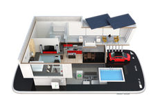 Energy-Efficient huis op een slimme telefoon Stock Foto