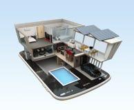 Energy-Efficient huis op een slimme telefoon Royalty-vrije Stock Foto