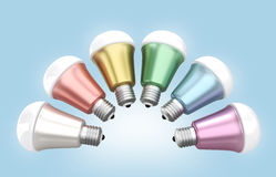 Energy efficient LED light bulbs arranged in fan shape Stock Photography