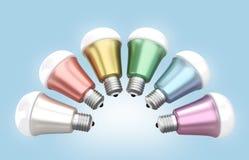 Energy efficient LED light bulbs arranged in fan shape Stock Photography