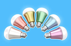 Energy efficient LED light bulbs arranged in fan shape Royalty Free Stock Photography