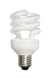 Energy-efficient light bulb. Isolated on white royalty free stock photos