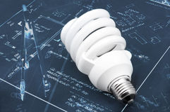 Energy efficient light bulb. Closeup photo royalty free stock images