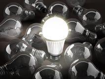 Energy efficient light bulb among standard light bulbs. 3d illustration Royalty Free Stock Photo