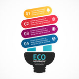 Energy efficient light bulb. Vector arrows green eco infographic. Ecology diagram, graph, presentation, chart. Organic. Layout for your options or steps Royalty Free Stock Image