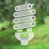Energy efficient light bulb. Vector green eco infographic. Ecology diagram, graph, presentation, chart. Organic nature. Layout for your options or steps Stock Photo